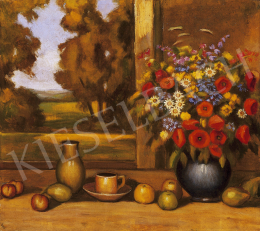 Balla, Béla - Still life of fruits with flowers