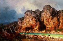 Ligeti Antal - Folyóparti sziklás táj várrommal
