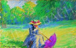 Vaszary János - Ülő nő lila napernyővel