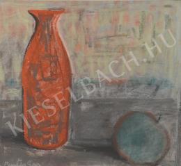 Pintér Éva - Csendélet vörös üveggel, almával