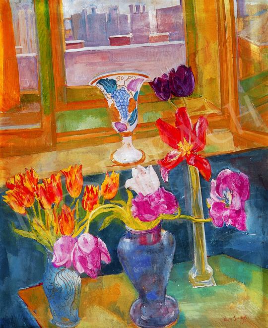 Paizs-Goebel Jenő - Virágos csendélet ablak előtt | 12. Aukció aukció / 147 tétel
