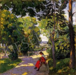 Kádár Géza - Pirosruhás lány árnyas parkban