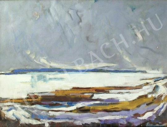 Eladó  Sándorfalvi Sándor - Tó télen festménye