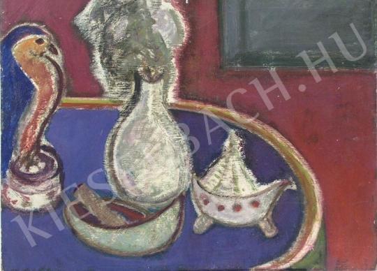 Eladó Tóth-Vissó Árpád - Csendélet ovális asztallappal festménye