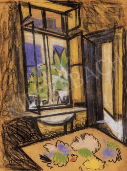 Scheiber Hugó - Szobabelső nyitott ablakkal