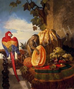 Ismeretlen osztrák festő, 1850 körül - Csendélet papagájjal és majommal