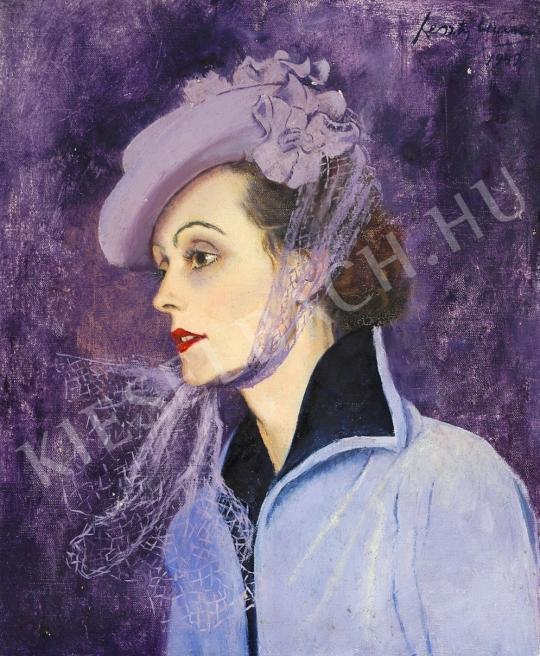Feszty Masa - Lila kalapos nő festménye