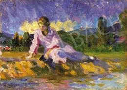 Thorma János - Rózsaszínruhás hölgy a vízparton