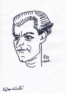 Rózsahegyi György - Réber László grafikus, illusztrátor, karikaturista portréja