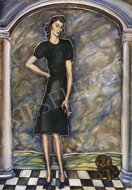 Batthyány Gyula - Cigarettázó nő kiskutyával (1930-as évek)