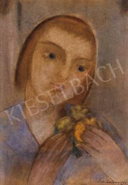 Schönberger Armand - Kislány virággal | 10. Auction aukció / 15 tétel