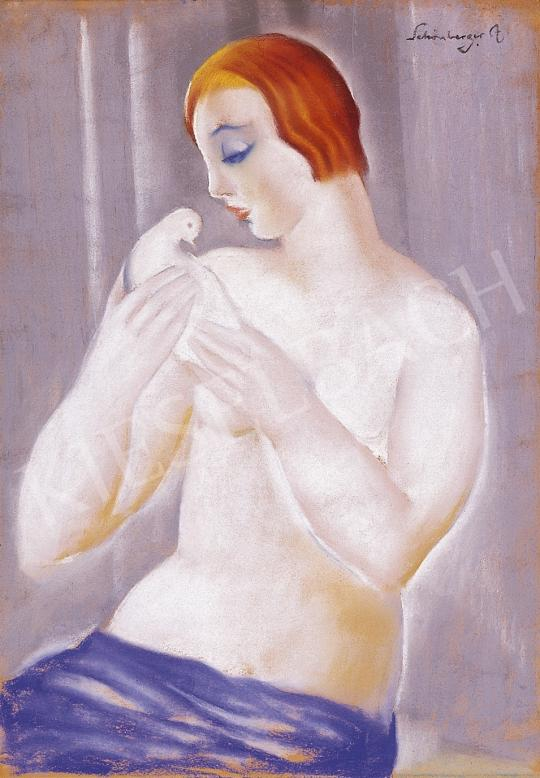Schönberger Armand - Akt fehér galambbal | 10. Auction aukció / 18 tétel