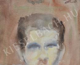 Ismeretlen művész - Rövid hajú férfi portréja (részlet) [kétoldalas] (1950-es évek)