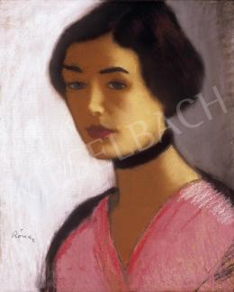 Rippl-Rónai József - Rózsaszínruhás nő fekete nyakpánttal (1915)