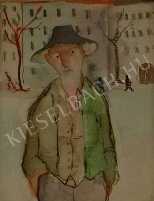 For sale  Spányi, Ilona - Boy with a Hat on the Sandlot 's painting
