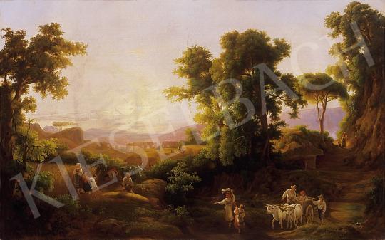 Ujházy Ferenc - Romantikus táj alakokkal   10. Auction aukció / 50 tétel