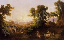 Ujházy, Ferenc - Romantic landscape with figures