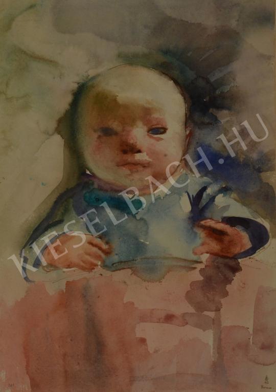 Eladó Ősz Dénes - Ágyban fekvő kisbaba festménye