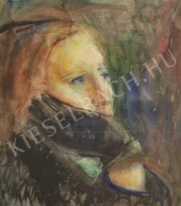 Ősz Dénes - Kesztyűs kezébe támaszkodó nő portréja