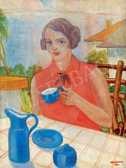 Walleshausen, Zsigmond - Lady in Red Dress Drinking Coffee, 1930 (1930)