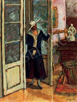 Sándor Móricz - Fehér kalapos hölgy (1919)