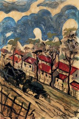 Scheiber Hugó - Lovaskocsi, piros tetős házak