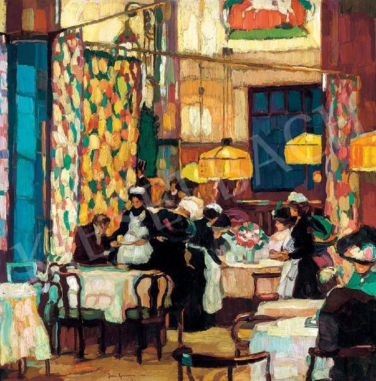 Josse Goossens - Kávéházi jelenet | 44. Aukció aukció / 40 tétel