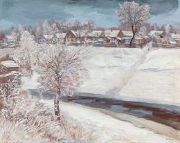 Szlányi Lajos - Szolnoki patakpart télen (1930)