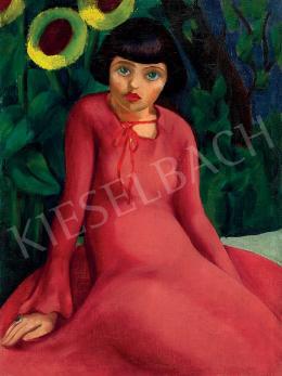 Ismeretlen festő - Kislány piros ruhában