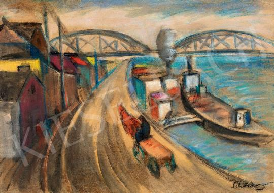Schönberger, Armand - Danube with Barges, c. 1930 | 44th Auction auction / 75 Item