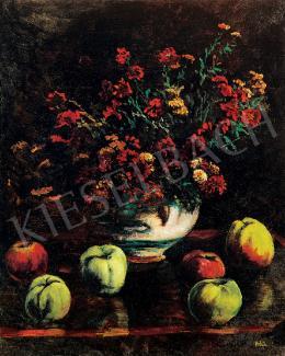 Orbán Dezső - Virágcsendélet almákkal,