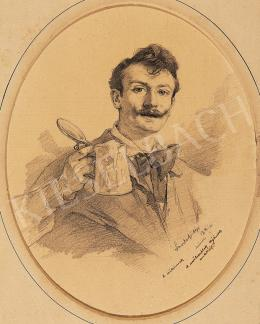 László, Fülöp - Self-portrait with beer-pot