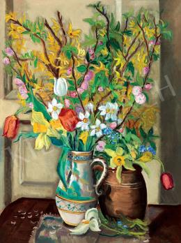 Vörös, Géza - Colourful Still-life of Flowers (Spring Bouquet)