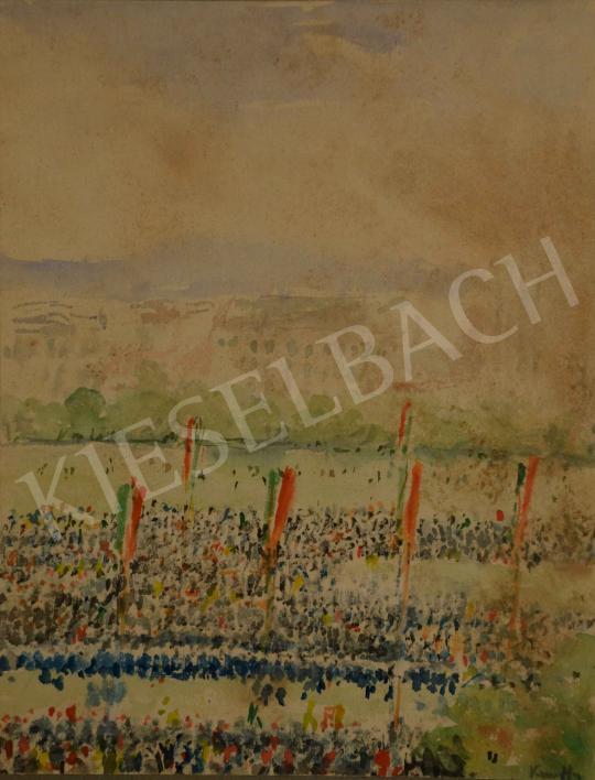 Eladó  Kunffy Lajos - Március 15-e a Vérmezőn (Ünnepség), 1900 körül festménye