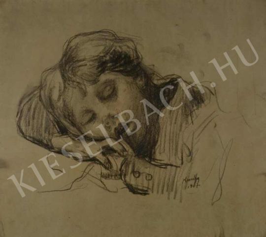 Eladó  Kunffy Lajos - Alvó kisgyermek portréja, 1907 festménye