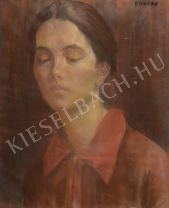 Eladó  Kunffy Lajos - Piros inges lány festménye