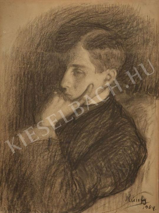 Eladó  Kunffy Lajos - Gondolkodó fiatal férfi festménye