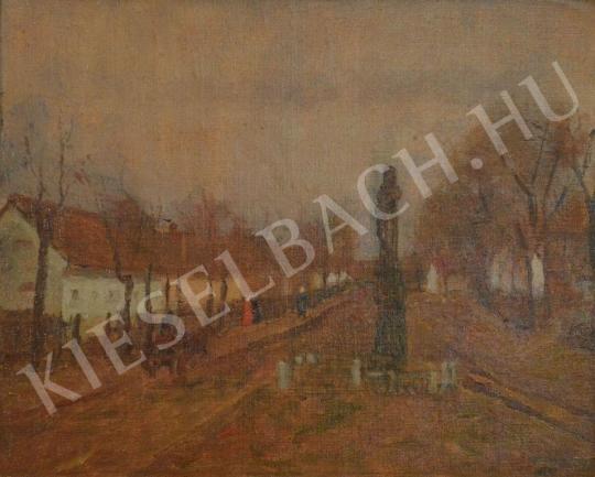 Eladó  Kunffy Lajos - Falusi utca kereszttel festménye