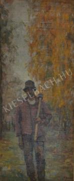 Eladó  Kunffy Lajos - Favágó vállára vetett baltával festménye