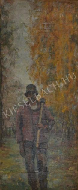 Kunffy, Lajos - Woodcutter with Axe on His Shoulder