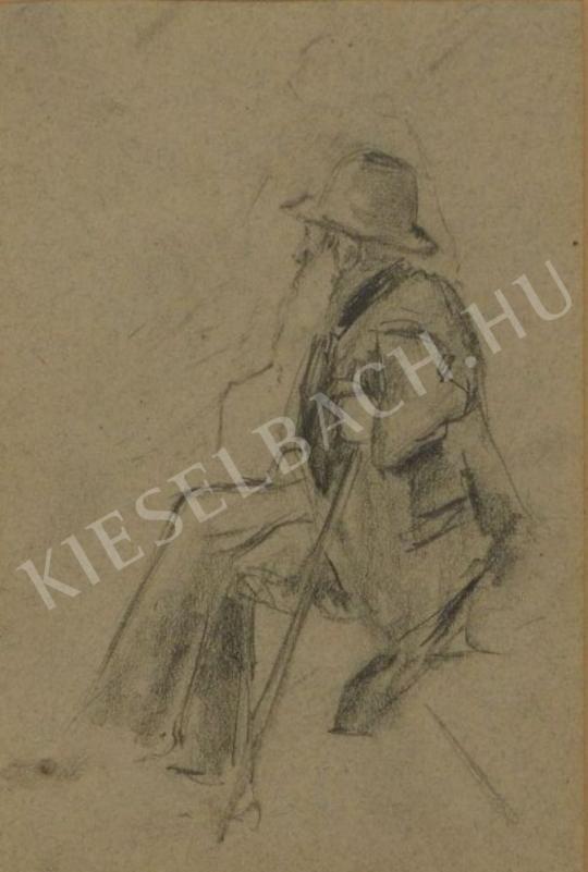 Eladó  Kunffy Lajos - Botjára támaszkodó, idős, szakállas férfi festménye