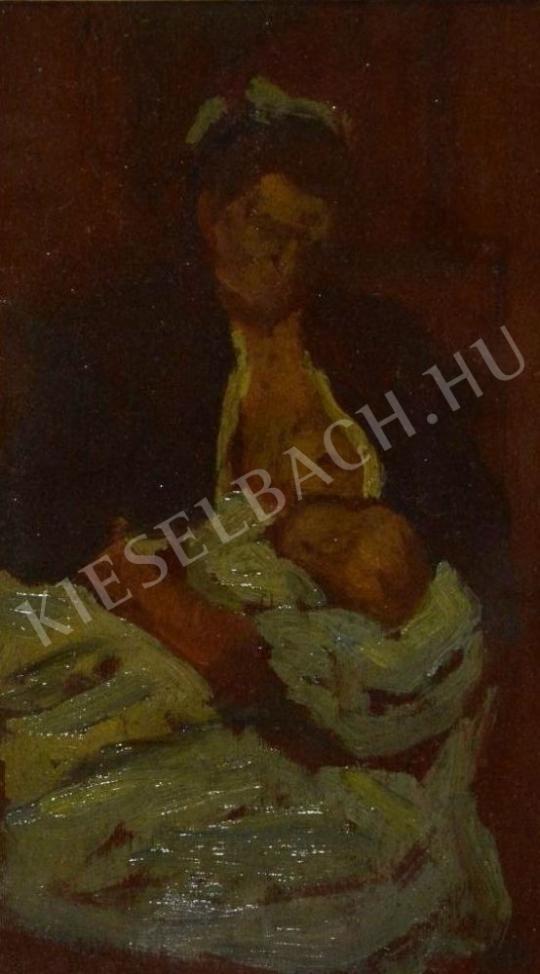 Eladó  Kunffy Lajos - Gyermekét szoptató anya festménye