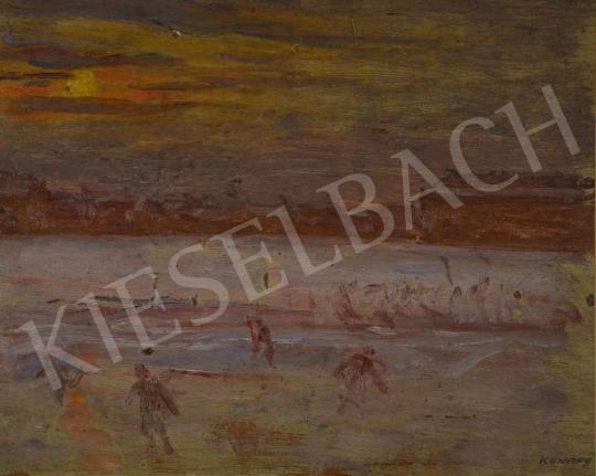 Eladó  Kunffy Lajos - Téli naplementében korcsolyázók, 1910-es évek festménye
