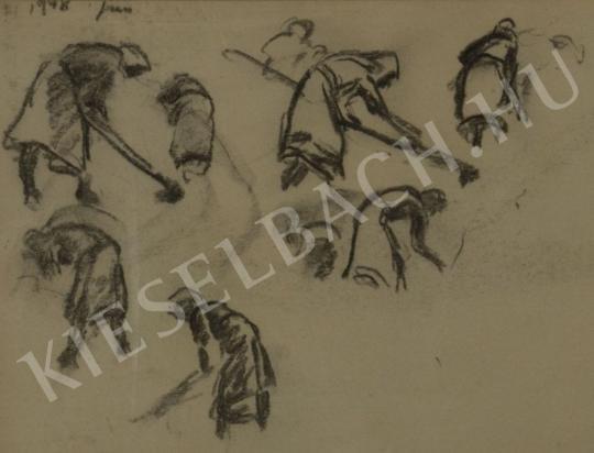 Eladó  Kunffy Lajos - Kapáló nő (Tanulmányok) festménye