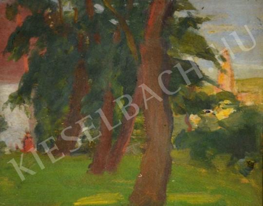 Eladó  Kunffy Lajos - Kert fákkal, háttérben templomtoronnyal festménye