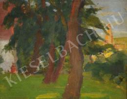 Kunffy Lajos - Kert fákkal, háttérben templomtoronnyal