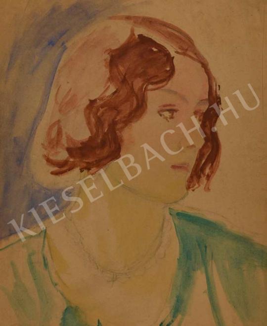 Eladó  Kunffy Lajos - Vörös hajú nő portréja festménye