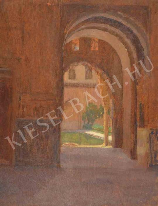 Eladó  Kunffy Lajos - A granadai Alhambra kerengője (Elkezdett kép az Alhambrában) festménye