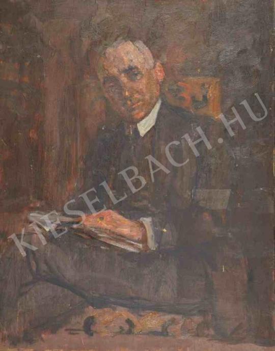 Eladó  Kunffy Lajos - Férfiportré könyvvel (Sebestyén Károly portréja) festménye
