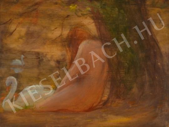 Eladó  Kunffy Lajos - Női akt hattyúkkal (Léda) festménye